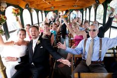 Trolley Transportation anyone?   http://www.brit.co/ask-brit-18-unconventional-ideas-for-wedding-entertainment/