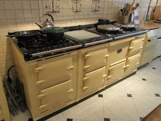 The Aga stove. Best Cooker, Aga Cooker, Cooker Hoods, Aga Kitchen, Country Kitchen, Cottage Kitchens, Home Kitchens, Aga Oven, Grease