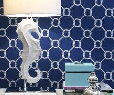 Nautical Wallpaper and seahorse lamp