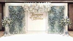 Reception Backdrop : Fleur by Rainforest Contact : 081-809-5459 #white #navy #blue #floral #flower #backdrop #decorations #combination #florist #wedding #ceremony #happy #beautiful #stand #logo #fleur #production #setup #real #hanging