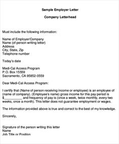 Employment Verification Form Sample Simple Proof Of Employment Letter 02  Venessa  Pinterest