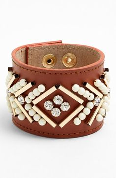 { Layers of Love Embellished Leather Bracelet }