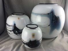 Holmegaard Glass Vases Atlantis Michael Bang Ball Danish Scandinavian Set of 3  | eBay