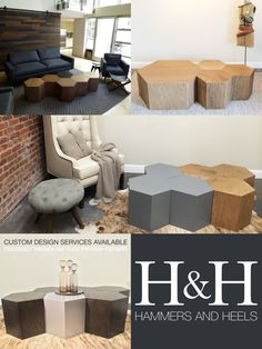 The Hive Table. This eco-friendly modular furniture system can be mix-n-matched to offer hundreds of multi-functional possibilities. Transform a cluster of hexagon units from a coffee table into additional stool seating or side tables instantly. The honeycomb shape lends itself to endless geometric combinations! Exclusive Hammers and Heels design custom handmade in the San Francisco Bay Area.
