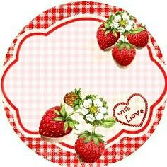 Blank printable Strawberry jam label by Carola Densford @ LaCaro Retro Chic (fb)