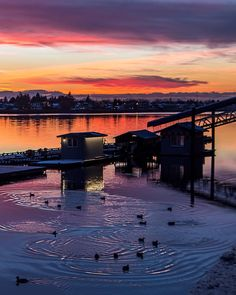Sea Island Sunset   Splashes of colour reflect off the middle arm of the mighty Fraser River. Captured this evening at the @TheFlyingBeaverBar and home of @HarbourAir at Vancouver's South Terminal in Richmond British Columbia Canada  January 5 2017