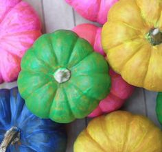 Neon DIY Mini Pumpkins - 101 Fabulous Pumpkin Decorating Ideas - Photos