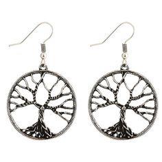 Pair of Tree of Wisdom Drop Earrings - SILVER