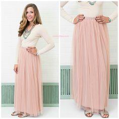 Keeping Secrets Rose Tulle Maxi Skirt
