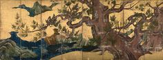 7. Cypress Tree, Kano Eitoku, ink, colors, and gold on paper, folding screen, 1590, Late Momoyama.