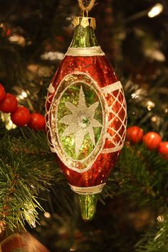 Red & Green Glass Ornament