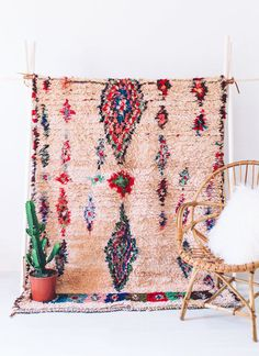Moroccan Vintage Ourika Boucherouite Rug Wall by HayCollective