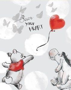 Disney Winnie the Pooh - Pooh Bear Your Heart Canvas Stretched Canvas Print Tigger And Pooh, Winne The Pooh, Cute Winnie The Pooh, Winnie The Pooh Quotes, Winnie The Pooh Friends, Pooh Bear, Eeyore, Arte Disney, Disney Art