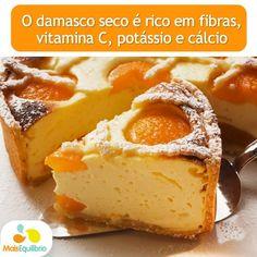 Experimente esta receita de torta diet de ricota com damasco. Ótima maneira de consumir esta fruta, não acha? http://maisequilibrio.com.br/torta-diet-de-ricota-com-damasco-8-2-7-12.html