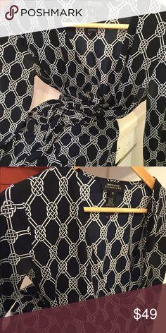 Slinky, classic Wrap Dress! Smart navy and white wrap dress by Jones of New York Jones New York Dresses