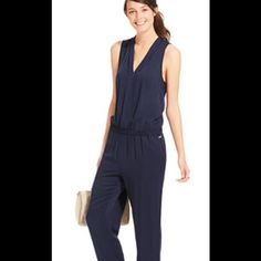 NWT Tommy Hilfiger blue pant jumpsuit NWT Tommy Hilfiger . Chic style takes form in this super sophisticated yet relaxed, zip-front jumpsuit by Tommy Hilfiger. V-neckline Zipper to waist closure at front Sleeveless Smocked elastic waist 2 side slit pockets Skinny leg Unlined Approximate inseam: 26 inches Rayon Machine wash Tommy Hilfiger Pants Jumpsuits & Rompers