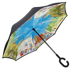 Double Layer Inverted Inverted Umbrella Is Light And Sturdy Picture Bouquet Roses Angel Lips Reverse Umbrella And Windproof Umbrella Edge Night Refle