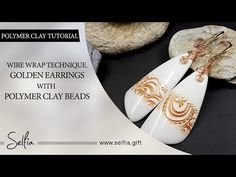 long golden wire-wrapped polymer clay earrings with pearls. FREE Video   Wire wrapped tutorial - YouTube