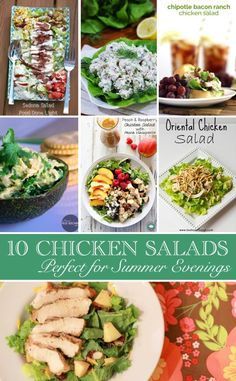10 Summer Chicken Salads perfect for a light lunch or summer dinner!