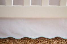 Scallop Crib Skirt in White - Turquoise Trim