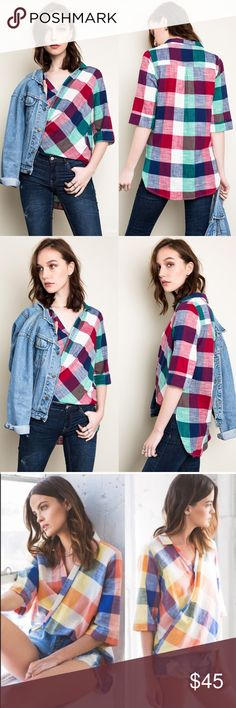 KAITLYN High-Lo Plaid Shirt - PLUM mix Available in orange or plum mix  High-Low Plaid Shirt Fabric 100% COTTON. How vibrant & darling it is! NO TRADE, PRICE FIRM Bellanblue Tops Blouses