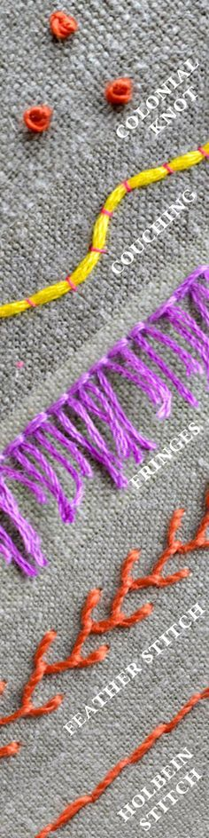 embroidery stitch lexicon round 4: new stitches are colonial knot, couching, fringes, holbein stitch and feather stitch