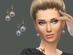 The Sims Resource: Halo daimond drop earrings by NataliS • Sims 4 Downloads
