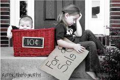 Big sister selling baby