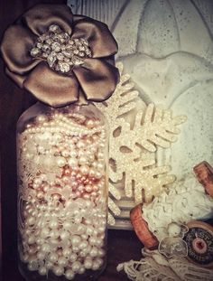 My house, A Vintage Shabby White Christmas, Pearls, Bling....photo by Julie Cruzan