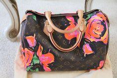 100% Authentic Louis Vuitton Monogram Roses Speedy 30 Stephen Sprouse #LouisVuitton #Clutch