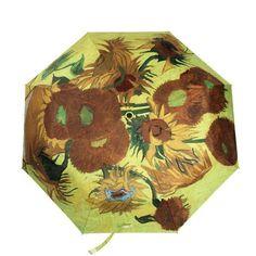 Umbrella Art Oil Painting Vincent Van Gogh Sun-flower Sun Rain 3 Fold Anti Uv Umbrellas