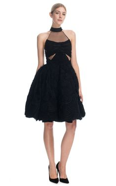 Donna Karan Atelier Scallop Embroidery Cocktail Dress