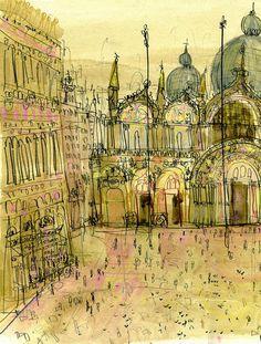 Venice Art Print Saint Marks Basilica Watercolor by ClareCaulfield