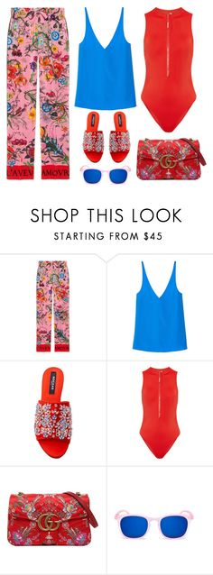 """""""Floral Details"""" by cherieaustin on Polyvore featuring Gucci, TIBI, Rochas, Calvin Klein and Izipizi"""