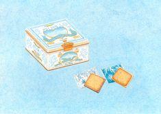白い恋人, 北海道, お菓子の包装, パッケージ, 土産, クッキー, 缶, イラストレーション, Sweets package, Hokkaido, gift, cookie, can, illustration