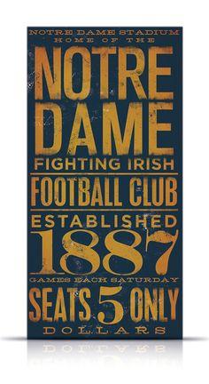 Notre Dame fighting irish football typography by geministudio