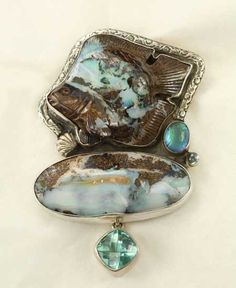 Amy Kahn Russell Carved Boulder Opal Fish Pin-Pendant