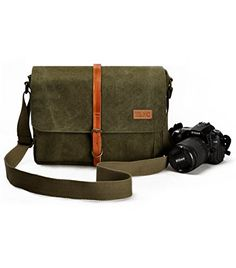 ZLYC Unisex Vintage Genuine Leather and Canvas Camera Bag Messenger Bag for DSLR Camera and Lens (Green) ZLYC http://www.amazon.co.uk/dp/B010B1FNMM/ref=cm_sw_r_pi_dp_AbaAwb0W8XMB4 #camerabag #armygreen #canvasbag #messengerbag #shoulderbag #durable #DSLR
