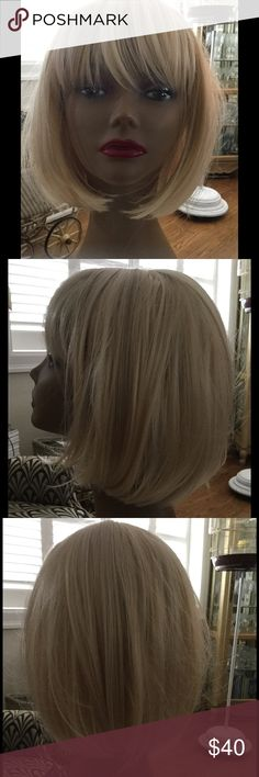 Blondes Have More Fun! Blonde Synthetic Wig.. Bob hairstyle with bangs. *Brand New Never Worn* Adjustable straps for your head comfort. Accessories Hair Accessories