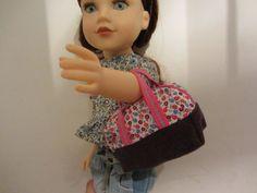 Mini sac de voyage en laine et coton pour poupées.Bag for journey girls doll