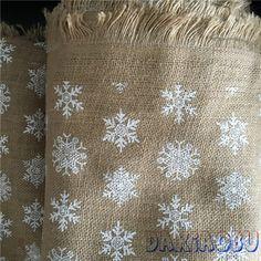 DAXIAOBU 50x160 cm Natuurlijke Jute Jute Stof Print Sneeuwvlok DIY Kerstsok Gift…