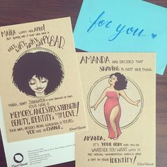 By carolrossetti88: Postcards from the Body Collection available at my store - http://ift.tt/1qGljoR ! #body #bodypositivity #noshave #afro #innerlove #postcards #store #illustration #feministillustration