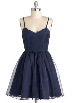 Navy Too Late Dress - Blue, Solid, Party, Spaghetti Straps, Short, Ballerina / Tutu, Sweetheart, Prom #modcloth #partydress