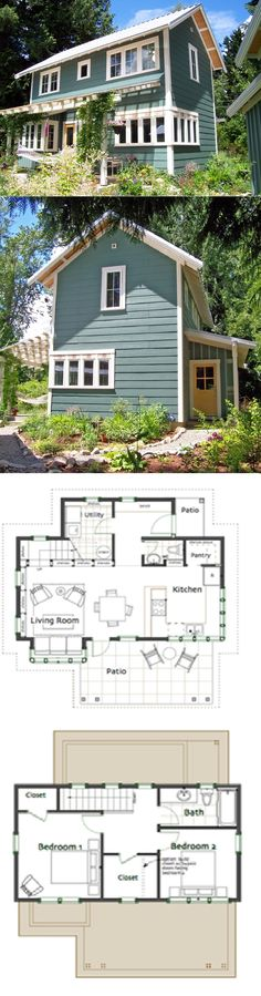My small house Ross Chapin Architects - Brightside Cottage :: 1086 sq. Make jack and Jill bath for double Master or one large master soaker tub Small House Plans, House Floor Plans, Tiny Home Floor Plans, Cottage Plan, Cabins And Cottages, Tiny Cabins, Small Cottages, Tiny House Living, Living Room