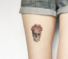 The colourful geometrics and sweet rose crown make these skull less morbid and more an ace reminder of grabbing every day we have and making the most of it! temporary tattoo by PepperInk on Etsy (there's a smaller size too)