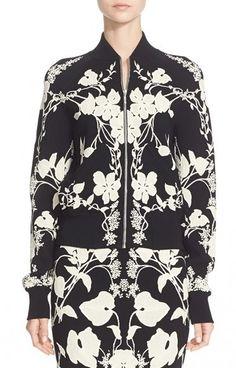Alexander McQueen 'Belle Epoque' Floral Pattern Jacquard Cardigan