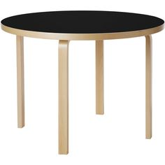 Artek Round Table 90A by Alvar Aalto ($1,097) ❤ liked on Polyvore featuring home, furniture, tables, accent tables, white round table, round accent table, circular table, lacquer table and black accent table