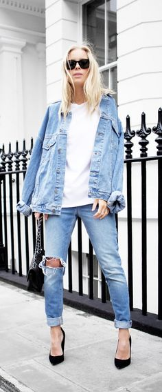 relaxed style // denim jacket with white t-shirt and ripped jeans with black heels