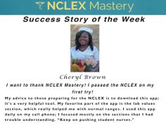 Cheryl Brown is our #NCLEX Mastery Success Story of the Week. Congratulations on passing your NCLEX, and becoming a #nurse. We're glad we could help play a part in you achieving your dreams. If you want to know how Cheryl passed or need help on your NCLEX studies visit: www.nclexmastery.com