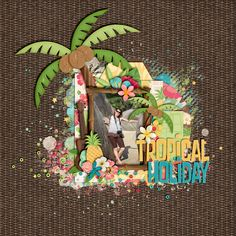 Tropical Holiday Credits: Backyard Luau by Kristin Cronin-Barrow & Studio Flergs  digital scrapbooking, layout, summer, holiday, tropical, beach, hobby  This layout was created for the Sweet Shoppe Summer Shadowbox contest - come join the digital scrapbooking fun at SweetShoppeDesigns.com!